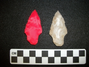 Plastic (left) replica of an Adena point (right) from Ferry Farm.