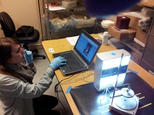 Mariana Zechini begins scanning the silver porringer fragment.