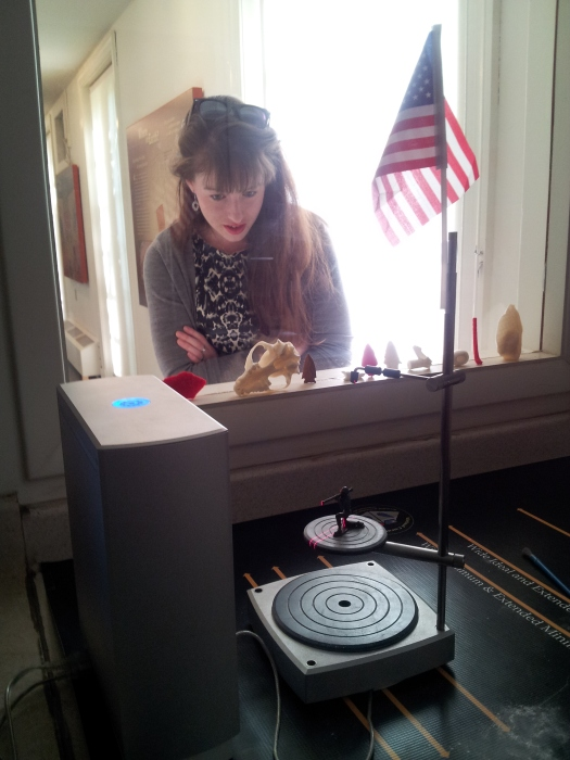 3D scanning of a toy soldier is viewed by Maggie Lovitt, a University of Mary Washington student who also works for the George Washington Foundation