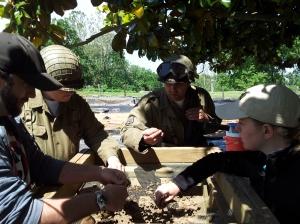 Reenactors help screen soil at Ferry Farm.