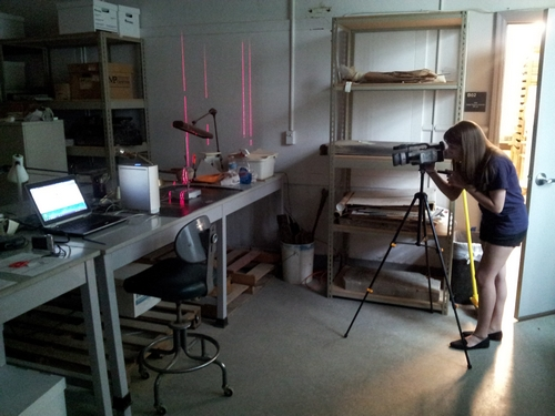 Mariana Zechini films the scanning of colonoware vessels at Fairfax County Cultural Resources