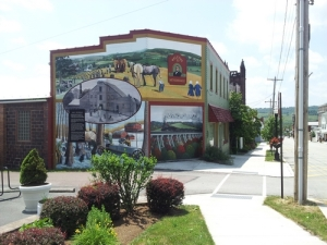 Mural in Meyersdale, Pennsylvania, focusing on the Maple Industry.