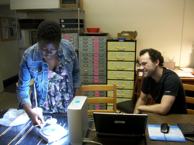 My first day working with the NextEngine Scanner. Aaron Ellrich, shown seated, helped guide my efforts.