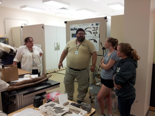Dr. Dooley, second from the left, discusses the fossil whale skeleton with Dr. Moore, far left, and Lauren and Ashley.