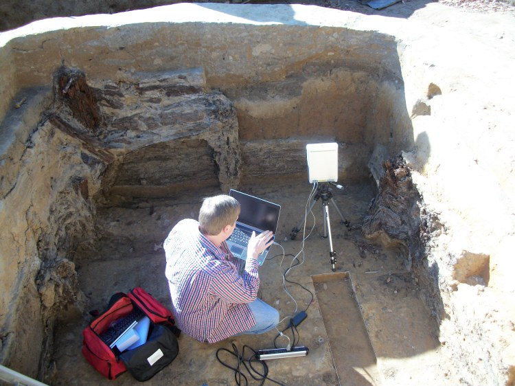 Clinton King works to scan the Confederate bombproof in November 2011.