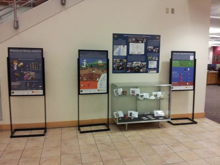 Some of the exhibit panels and the exhibit case at the James Branch Cabell Library.