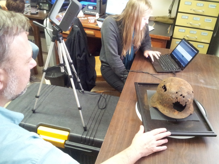 Scanning the World War II German helmet