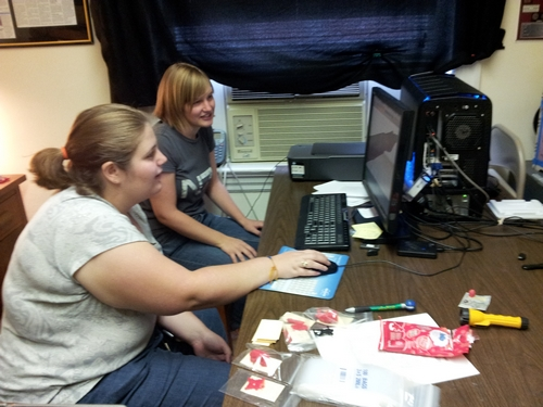 Danielle Smith, foreground, learns how to edit a digital model from Rachael Hulvey.
