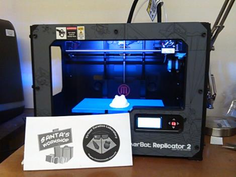 The Makerbot Replicator 2, aka Santa's Workshop.