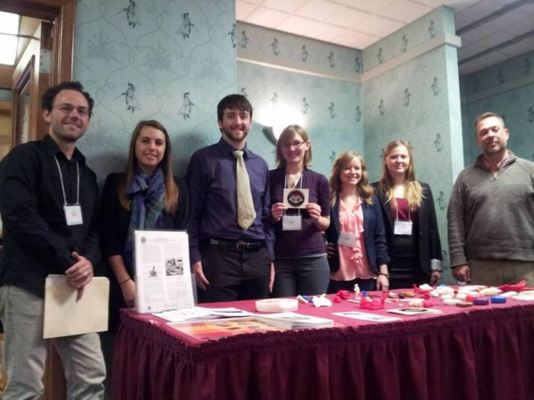 Photograph of VCU students at the 2013 annual meeting of the Archaeological Society of Virginia. The director of the Virtual Curation Laboratory, Dr. Bernard K. Means, can be seen at the far right. I am located on the far left.