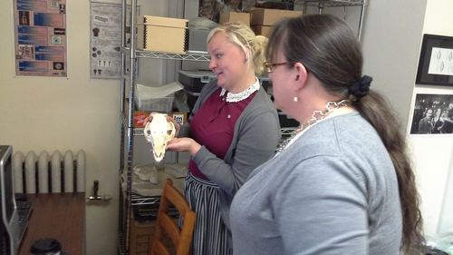 Intern Carson Collier talks about editing the digital model of the pig skull that she is holding.