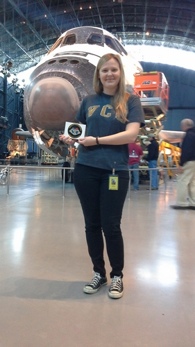 Lauren in front of the Space Shuttle Discovery