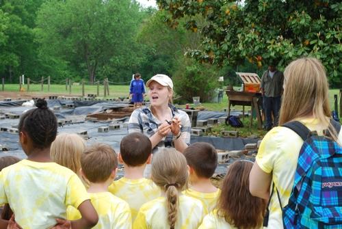 Lauren Volkers with young visitors.