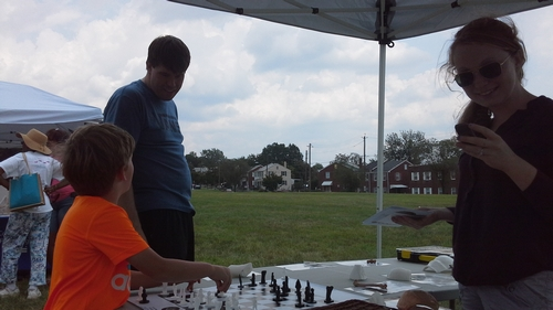Playing chess at Archaeology in the Community's Day of Archaeology.