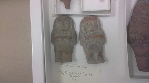 Moche figurines.  Replica is on the right.