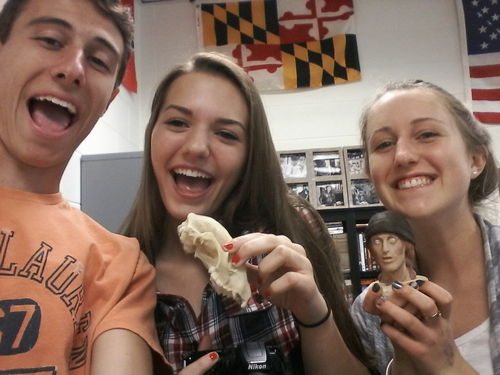 Clover Hill High School students interact with plastic replicas. Picture taken by student Christian Colwell.