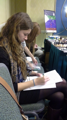 Lauren Hogg makes a few last minute edits to her presentation.