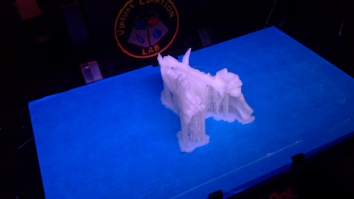 Winslow site dog maxillae printed in glow-in-the-dark plastic.