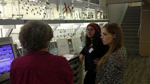 Rebecca Bowman (right) and Lucia Aguilar (center, back) talk with Deborah Hull-Walski