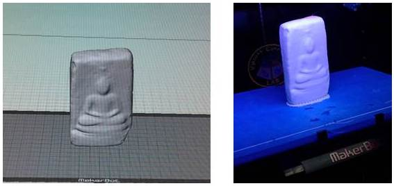 Digital model of Buddha plaque (left) and its 3D print, both created in the Virtual Curation Laboratory.