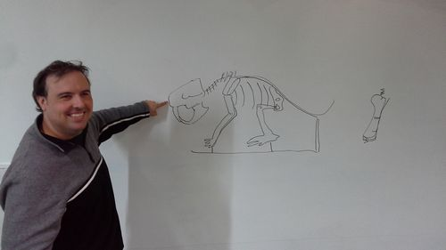 Ray Vodden illustrates mounting of fossil specimens