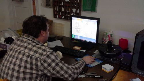 Ray Vodden editing a digital file.