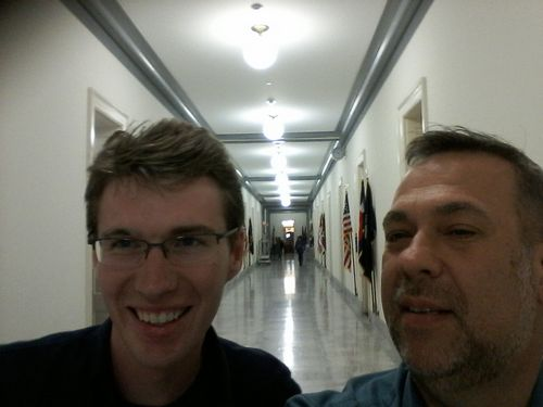 James Tyrwhitt-Drake and I walking through the halls under the Congressional buildings.