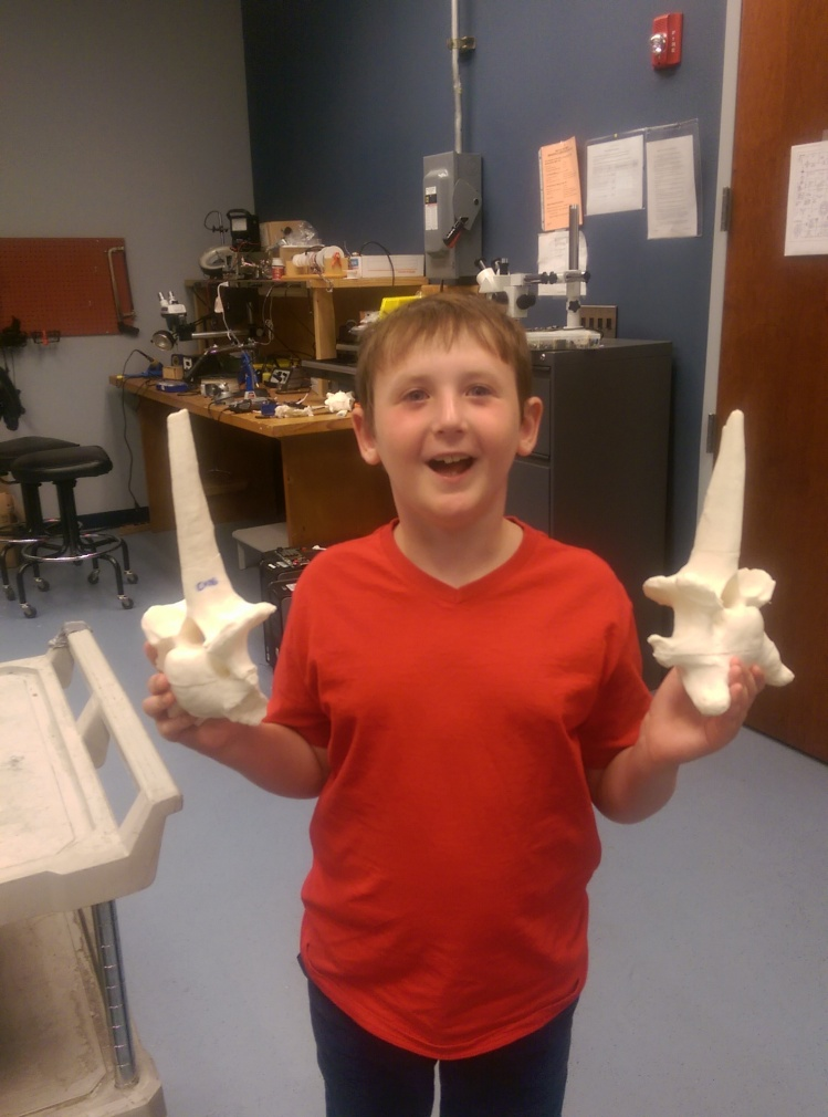 Xavier Barker with Bootherium cervical vertebrae.