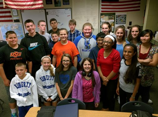 Eric Langhorst's 8th grade U.S. History class at Discovery Middle School in Liberty, Missouri.