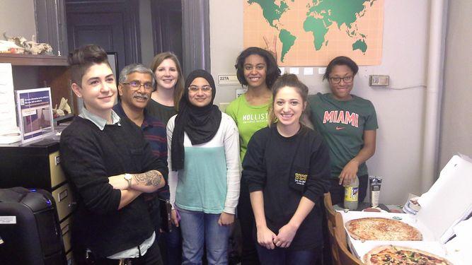 From left to right: Liz Ale, Vinod Nautiyal, Zoe Rahsman, Wasamah Shaikh, Erica Eddins, Maddie Interdonato, and Jazmine Parker in the Virtual Curation Laboratory