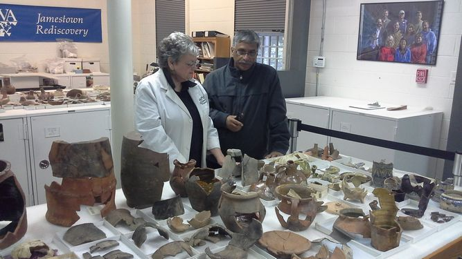 Jamestown Rediscovery Curator of Archaeology Merry Outlaw discusses artifacts with Dr. Nautiyal