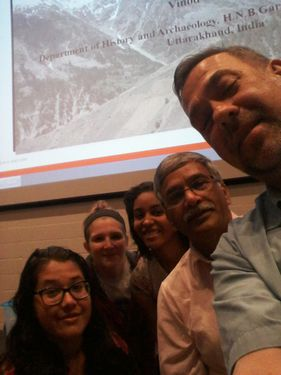Before his lecture, Dr. Nautiyal poses with members of the Virtual Curation Laboratory.