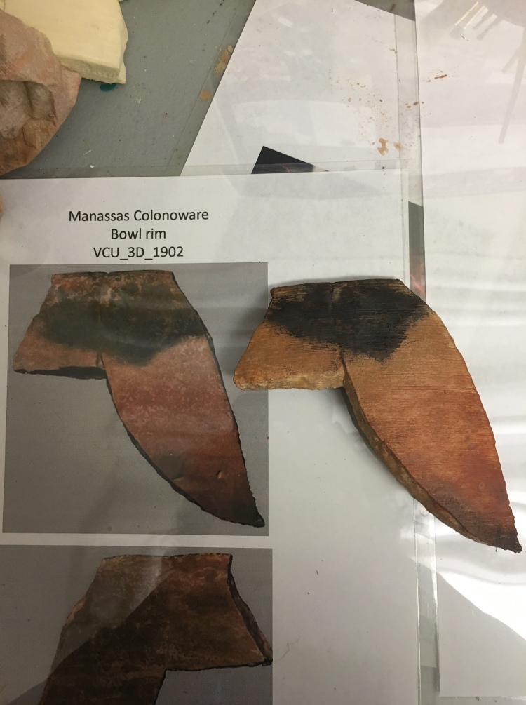 Colonoware vessel fragment.