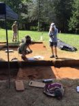Ben Snyder talks with the George Washington Foundation's Laura Galke about the possible fort trench.