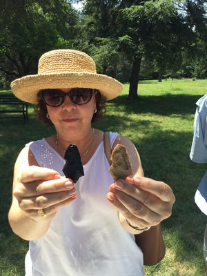A Germanna visitor compares replica with real