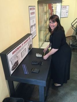 bkm_Darla Randolph prepping the exhibit