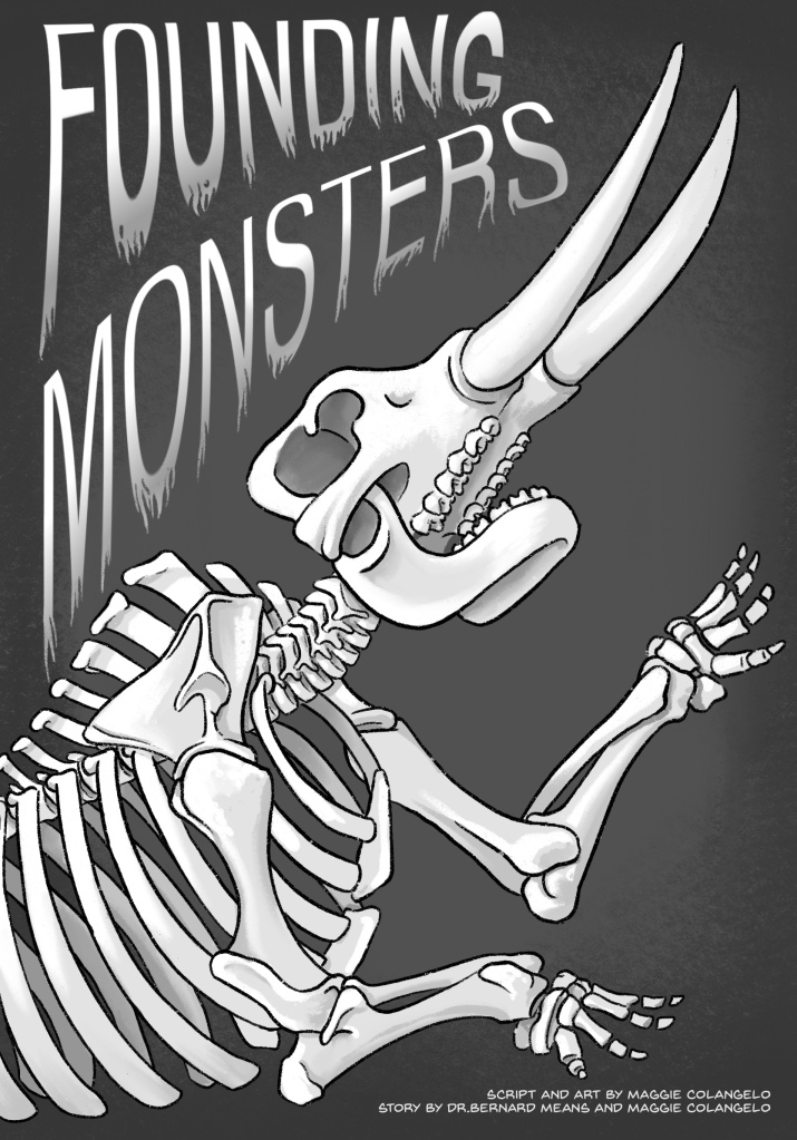 """This illustration shows a rearing mastodon below the phrase """"Founding Monsters"""" written in a spooky script."""